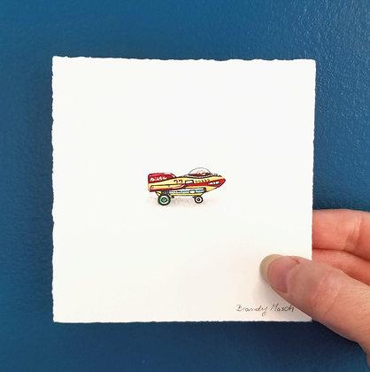 Tin Toy Plane.  Original Miniature Painting.