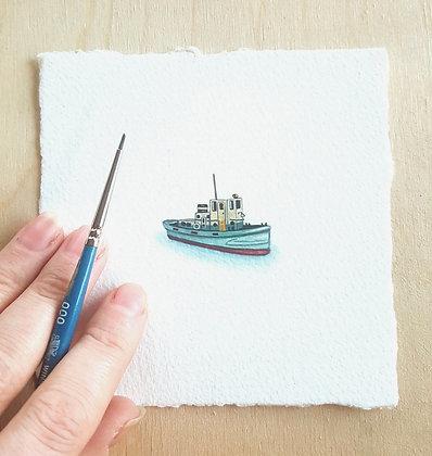 Fishing Boat. Original Miniature Painting.
