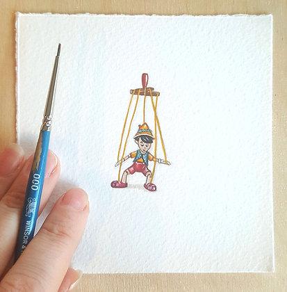Pinocchio. Original Miniature Painting.