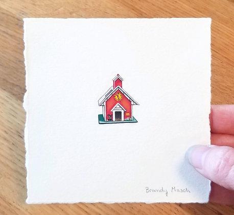 Fisher-Price School House.  Original Miniature Painting.