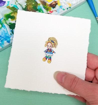 Rainbow Brite.  Original Miniature Painting.