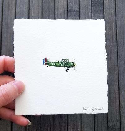 Plane. Original Miniature Painting.