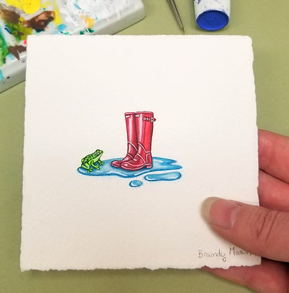 Red Gumboots.  Original Miniature Painting.