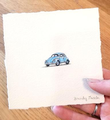 Blue Bug.  Original Miniature Painting.