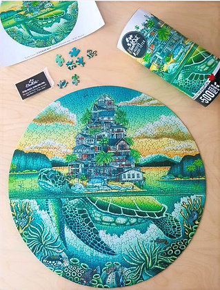 Turtle Cove. 500 pc, round puzzle by StandOut Puzzles. Art by Brandy Masch.