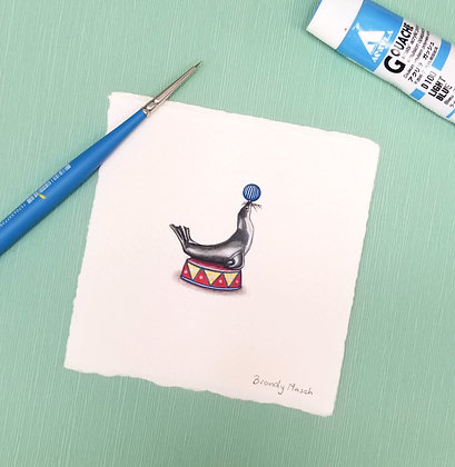 Circus Seal. Original Miniature Painting.