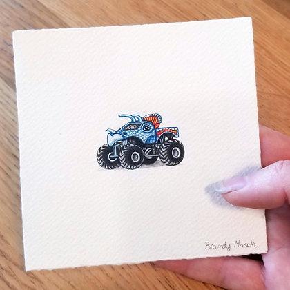 Dino Monster Truck.  Original Miniature Painting.