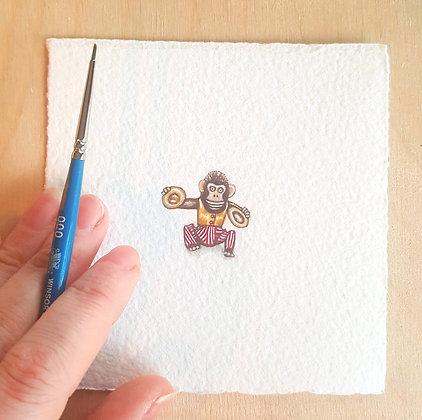Jolly Chimp. Original Miniature Painting.