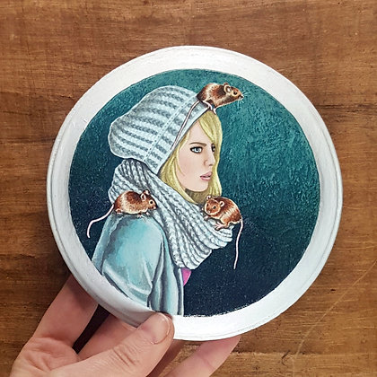 """Girl with Mice Friends.  Original Painting on a 5""""x 5"""" wood panel."""
