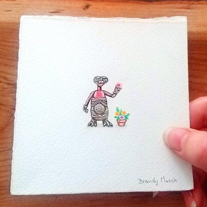 ET With Flowers. Original Miniature Painting.