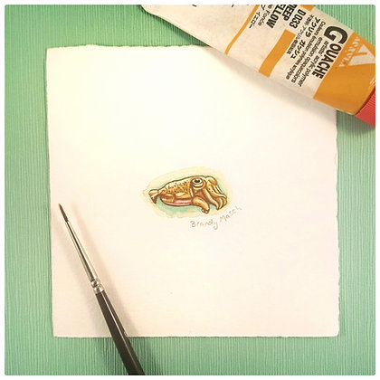 Cuttlefish.  Original Miniature Painting.