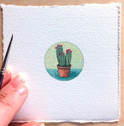 Little Cactus Plant.  Original Miniature Painting.