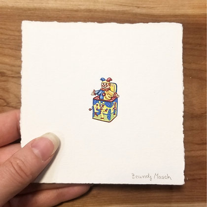 Jester Jack in the Box. Original Miniature Painting.