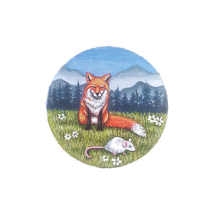 Fox and Mouse.  Original Miniature Painting.