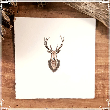 Deer Bust. Original Miniature Painting.
