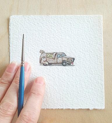 Mutt Cutts. Original Miniature Painting.