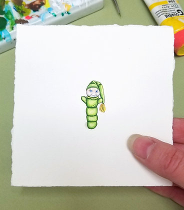 Glow Worm.  Original Miniature Painting.
