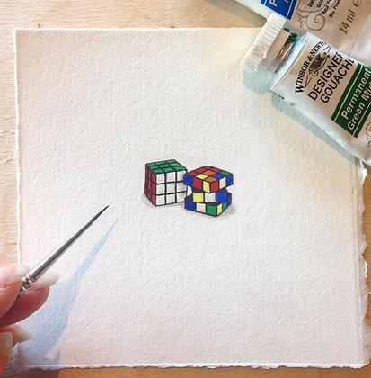 Rubix's Cube.  Original Miniature Painting.