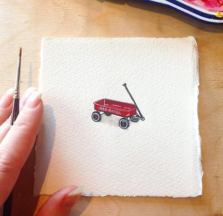 Classic Red Wagon.  Original Miniature Painting.