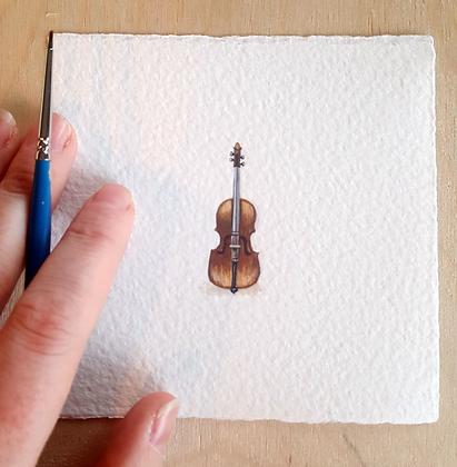 Bass.  Original Miniature Painting.