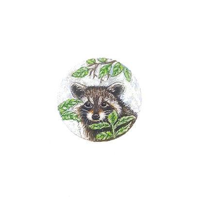 Raccoon.  Original Miniature Painting.