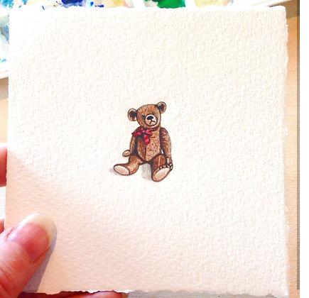 Teddy Bear.  Original Miniature Painting.
