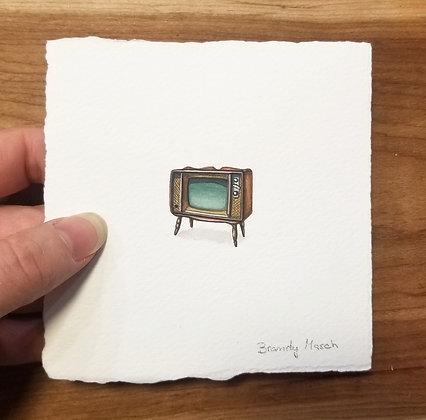 Classic TV. Original Miniature Painting.