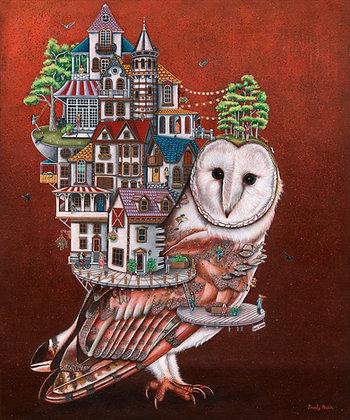 "Owls Landing (11""x14"") Print"