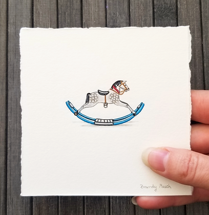 Rocking Horse.  Original Miniature Painting.