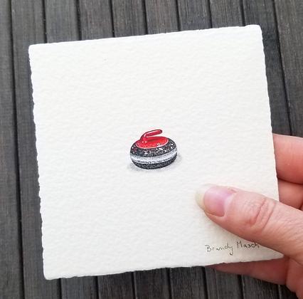 Canada Curling Stone. Original Miniature Painting.