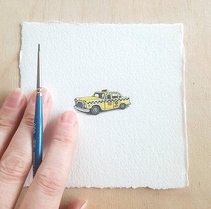 Taxi Cab. Original Miniature Painting.