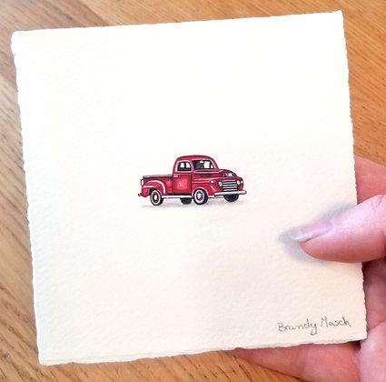 Red Pickup Truck.  Original Miniature Painting.