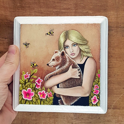 """Girl with Bear Friend.  Original Painting on a 5""""x 5"""" wood panel."""