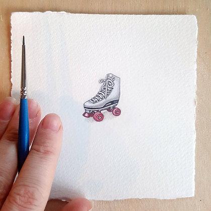 Retro Roller Skates.  Original Miniature Painting.