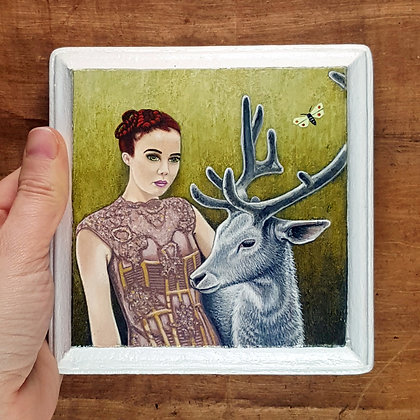"""Girl with White Stag Friend.  Original Painting on a 5""""x 5"""" wood panel."""