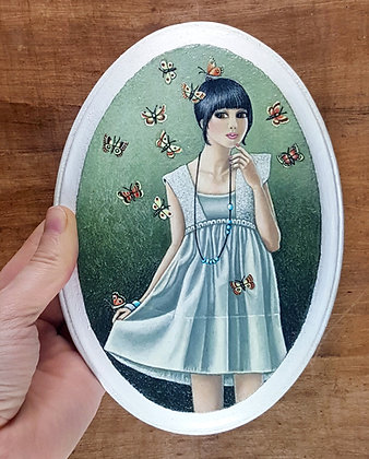 """Girl with Moth Friends.  Original Painting on a 5""""x 7"""" wood panel."""