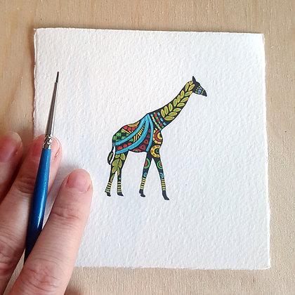 Decorative Giraffe.  Original Miniature Painting.