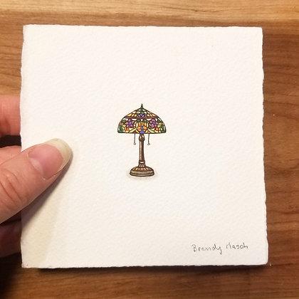 Tiffany Lamp. Original Miniature Painting.