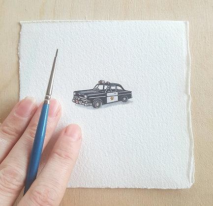 Police Car. Original Miniature Painting.
