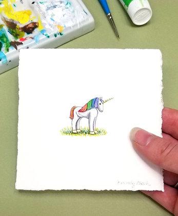Cute little Unicorn. Original Miniature Painting.