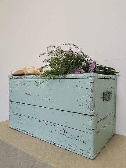 Antique pitch pine storage chest