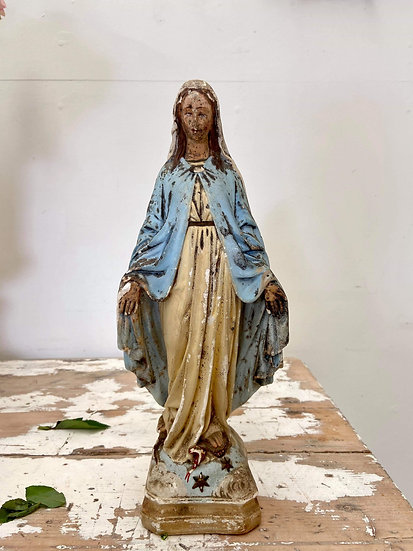 Antique French stattuette of the Madonna in Plaster **includes shipping**