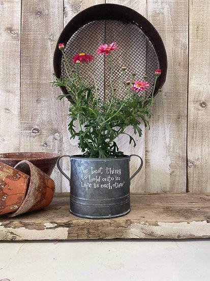 Zinc planter with ears 20cm