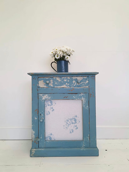 Antique pitch pine painted cupboard