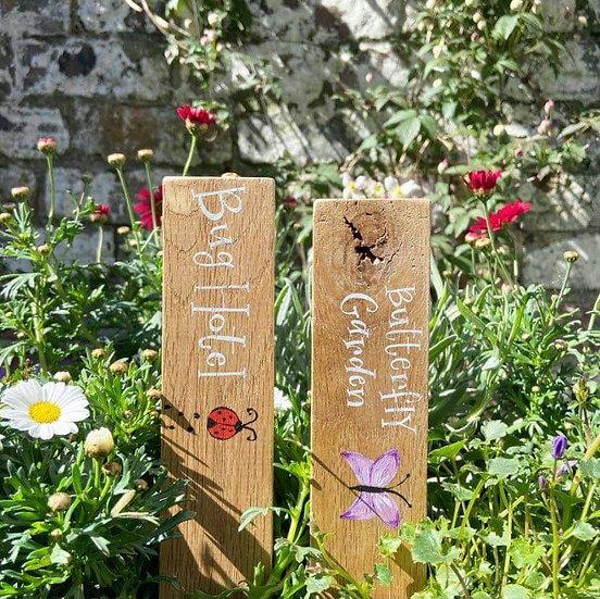 Personalised handwritten Oak garden markers