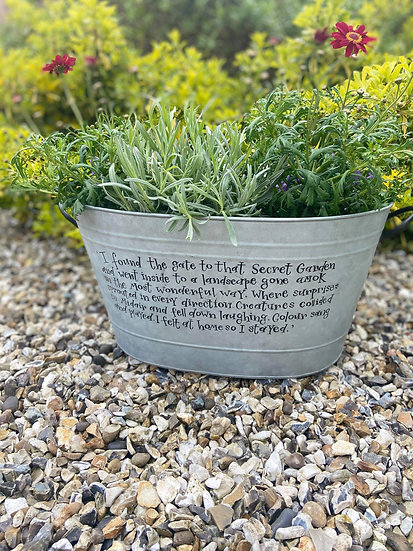 Zinc Planter / Tub with Personalised Handwritten Quote