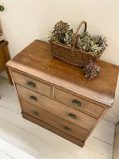 Antique 2 over 2 pitch pine chest of drawers **INCLUDES SHIPPING**