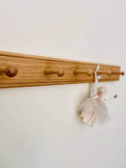 Solid Oak 5 Peg Rail 60cm