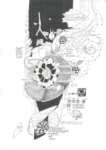 Vierge - Encre et stylo noir sur papier 220g/m - 42 x 30 cm - 2013