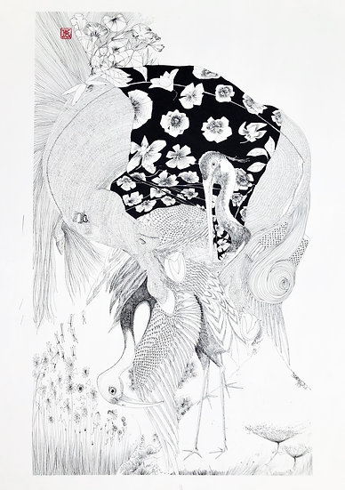 Hipolythée - Kokum portant Luther - Diptyque partie gauche, 2016